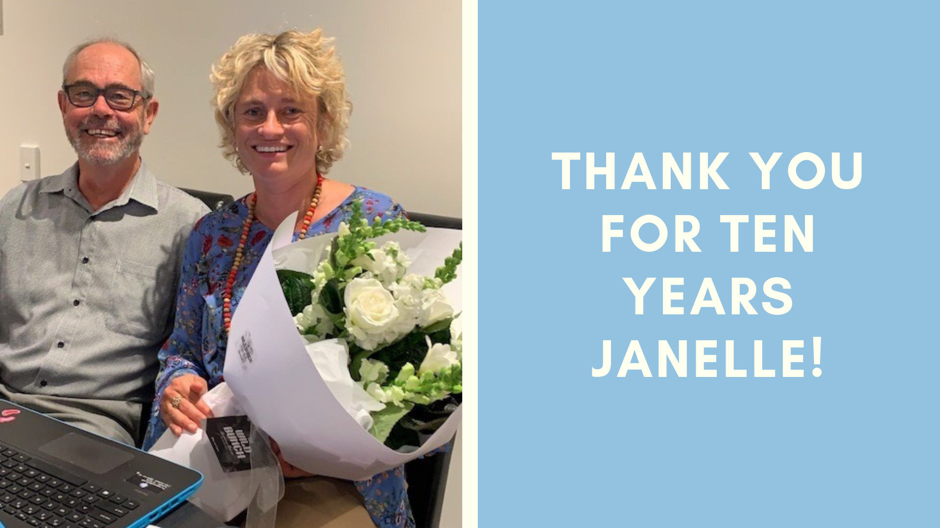 Flowers mark Janelle Irvine's ten years of service to people who stutter